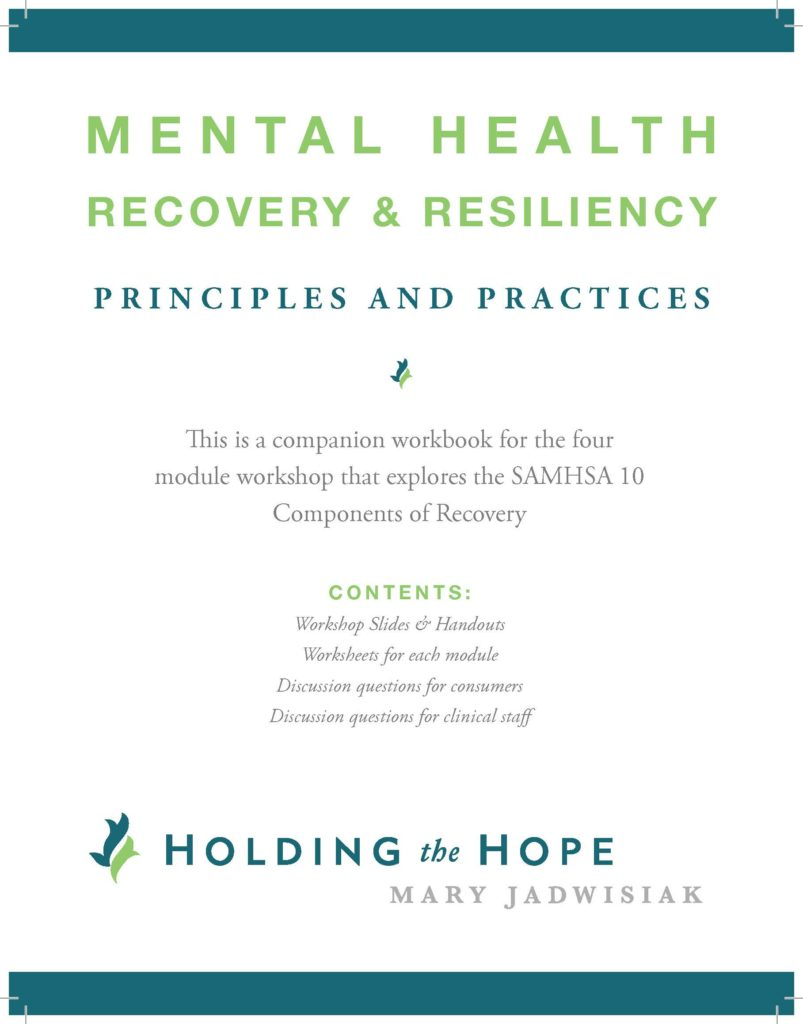 Worksheets Co-occurring Disorders Worksheets mh recovery resiliency principles and practices workbook holding the hope